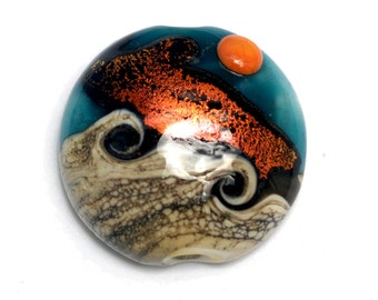 Handmade Glass Lampwork Bead - Romantic Isle Waves Lentil Focal Bead 11833702
