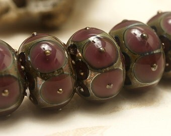 Handmade Glass Lampwork Bead Set - Six Plum w/Metal Dots Rondelle Beads 10601721