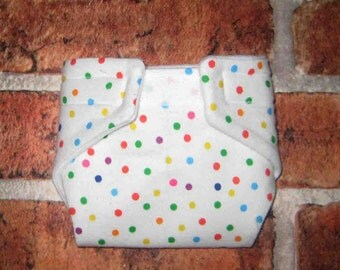 Baby Doll Cloth Diaper/Wipe-Poka Dots On White-Fits Bitty Baby, Baby Alive, Cabbage Patch Dolls and More.