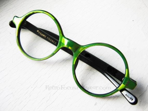 French Round Eyeglass Frames Vintage Eyewear Green ...