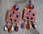 Earthy Brown Colored Earrings,Crystal & Glass Beaded Bohemian Earrings,Earth Tribe Hippie, Ecletic Artisan