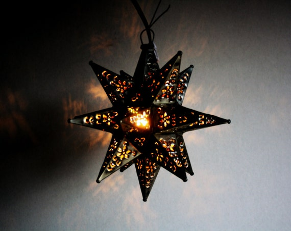 Reserved For Bonnie Vintage Tin Moravian Star Light Fixture