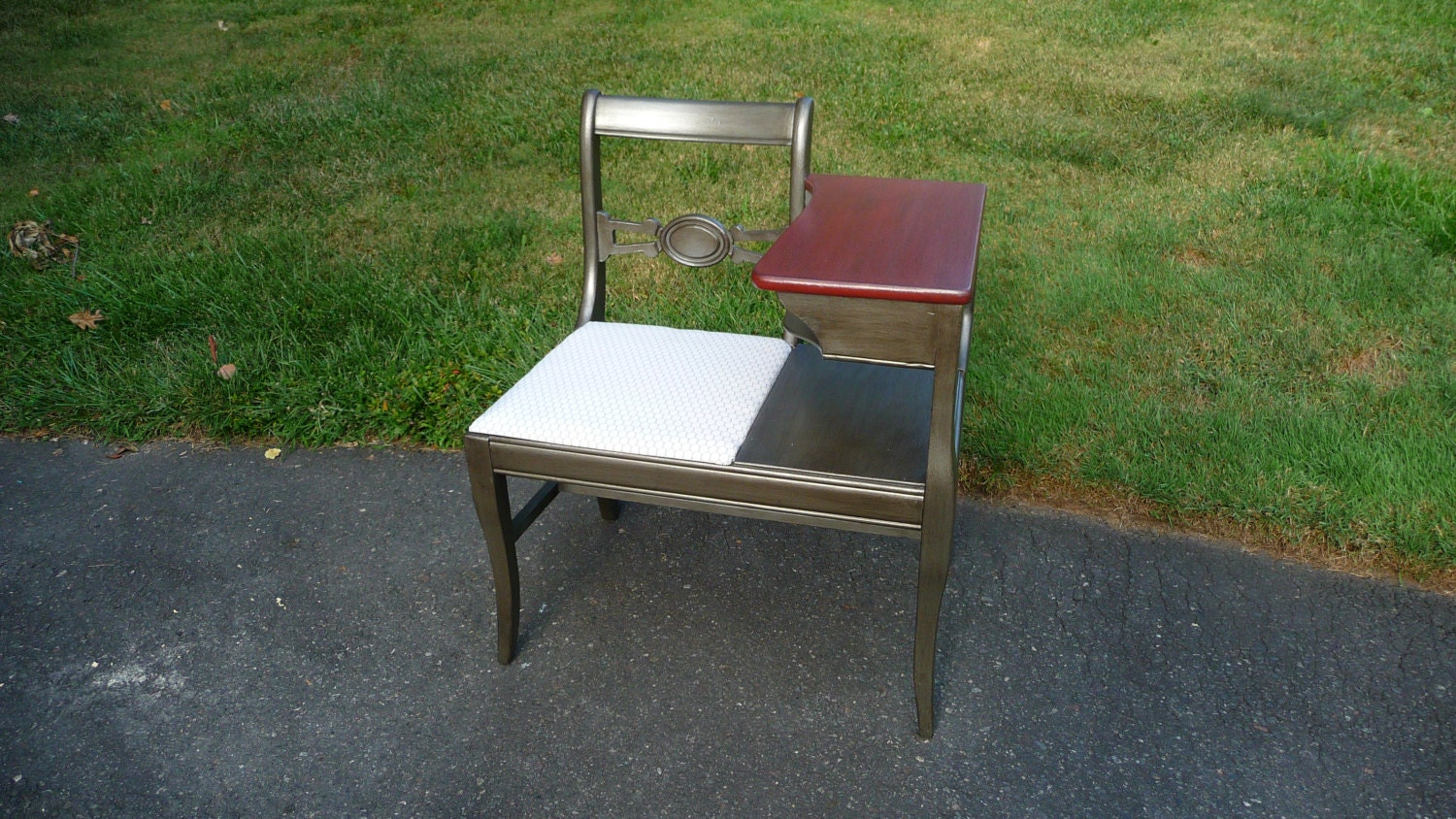 Hand Painted Vintage Telephone Table Gossip Bench