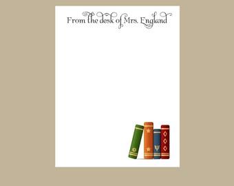 Librarian notepad, library teacher notepad, teacher gift, teacher notepad, stocking stuffer