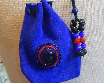 """Beaded Onyx Royal Blue Suede Leather Pouch with Gemstone & Shed Elk Antler Beads - Large Size 12.3 x 9.3 cm. (4 7/8"""" x 3 5/8"""") - OlyTeam"""