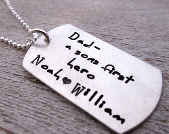 Father's Necklace - A Sons First Hero - Dog Tag Necklace - personalized dog tag necklace