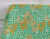 Vintage Fabric Yardage Supply Polyester Flowers Green Yellow Gingham