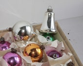 Assorted Vintage Christmas Ornaments, silver, pink gold Christmas Ornaments,  Christmas balls and bell ornaments - Fleaosophy