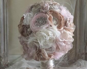 Bridal Brooch Bouquet, Fabric Bouquet Champagnes/ pinks and Ivory Fabric flower bouquet , alternative bouquet wedding bouquet