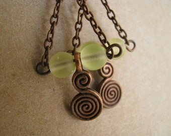 Yellow Chandelier Earrings, Yellow and Antique Copper Earrings, Copper Spiral Earrings