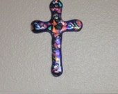 Dichroic Fused Glass Mosaic Cross Wall Hanging