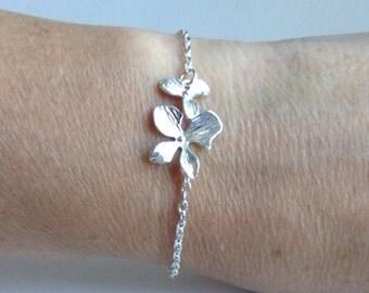 Silver Orchid Bracelet