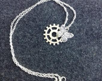 Steampunk Butterfly Gear Necklace