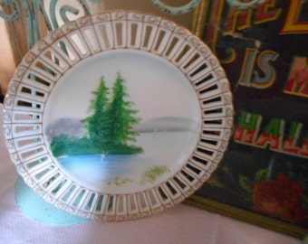 Vintage Ucago China Hand Painted Japan Plate Trees Lake Mountains