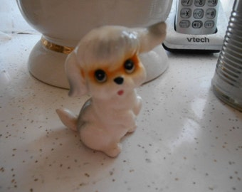 Vintage Tiny Super Cute Porcelain Dog Figurine White and Gray