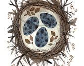 Boreal Nest Print, giclee bird art print, illustration birds nest, speckled birds eggs, nature watercolor print