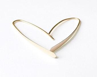 Gold Wishbone Earrings Medium 14k Solid Gold Earring Open Hoop Eco Friendly minimalist jewelry