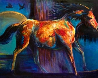 Modern Horse art print She Who Remembers the Ravens