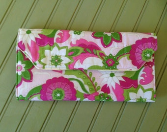 Toy Wallet- Pink and Green Floral