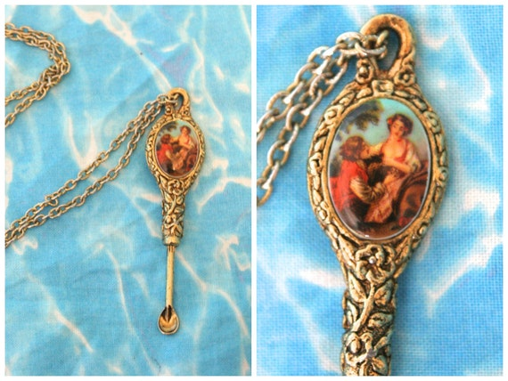 70s Spoon Necklace with Risque Cameo / Vintage Victorian Revival Disco Snuff (ok, coke) Gold Spoon on Chain