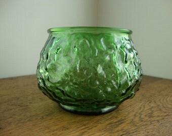 Green vase Short bowl vase Flower vase Bowl flower vase Centerpiece vase EO Brody vase Brody glass Emerald green vase