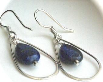 Navy Blue Earrings, Long Oval Dangles, Retro Sterling Silver Earrings, Sodalite Earrings, Fresh Modern Earrings, Blue Geometric Earrings