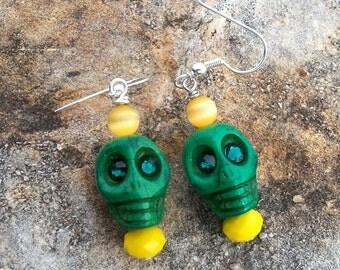 Green Stone Skull Bead Earrings