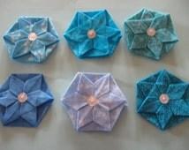 Origami Hexagon Flowers with 6 petals.