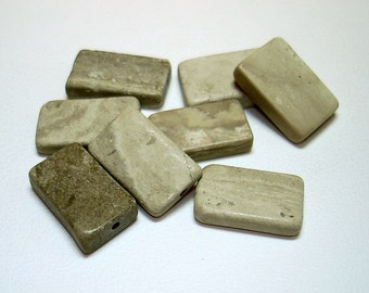 Grey Cream Marble Rectangle Stone Beads (Qty 8) - B2190
