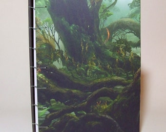 Dragons in the Forest - Coptic Bound larger size Blank Journal, Diary, Notebook.