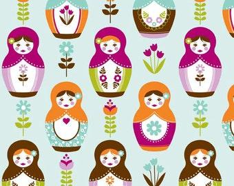 Little Matryoshka Stacking Dolls C3310 Aqua by Carly Griffith for Riley Blake Fabrics 1/2 yard