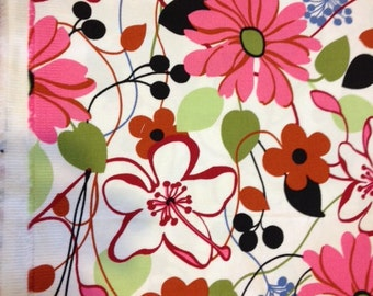 Robert Kaufman fabric | Pink Lime  Funky Flower fabric D3378 | Cotton Twill fabric