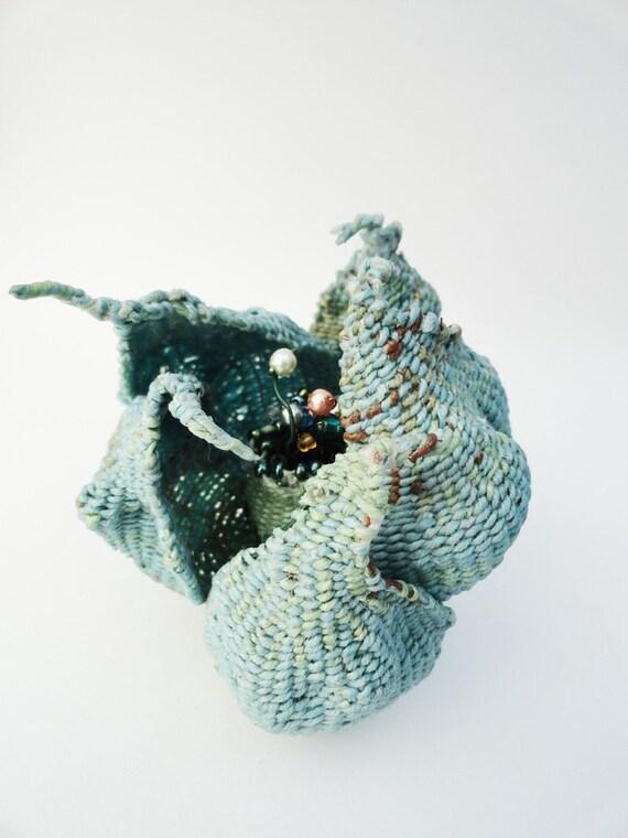 Woven Flower, Fiber Art Sculpture, The Unfolding, Soft Sculpture, Blue Green Brown, by Fiber Artist Pamela Zimmerman