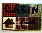 Sale - Which Way to Cabin, 15 X 10 Quilted Primitive Folk Art Sign