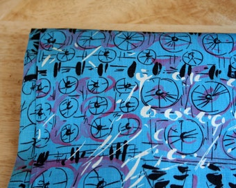 vintage 50s Mid Century Abstract Geometric Blue Novelty Print Fabric