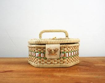 vintage 50s Woven Mint & Beige Shabby Little Sewing Notions Box Basket