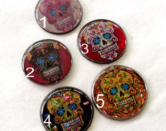 sugar skulls day of the dead photo art resin vintage watch back cabochons jewelry making bow