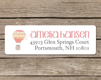 Custom Return Address Labels - Self Adhesive Stickers - Hot Air Balloon