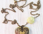 Céline Vintage Love Heart Locket in Spring Green and Brass OOAK