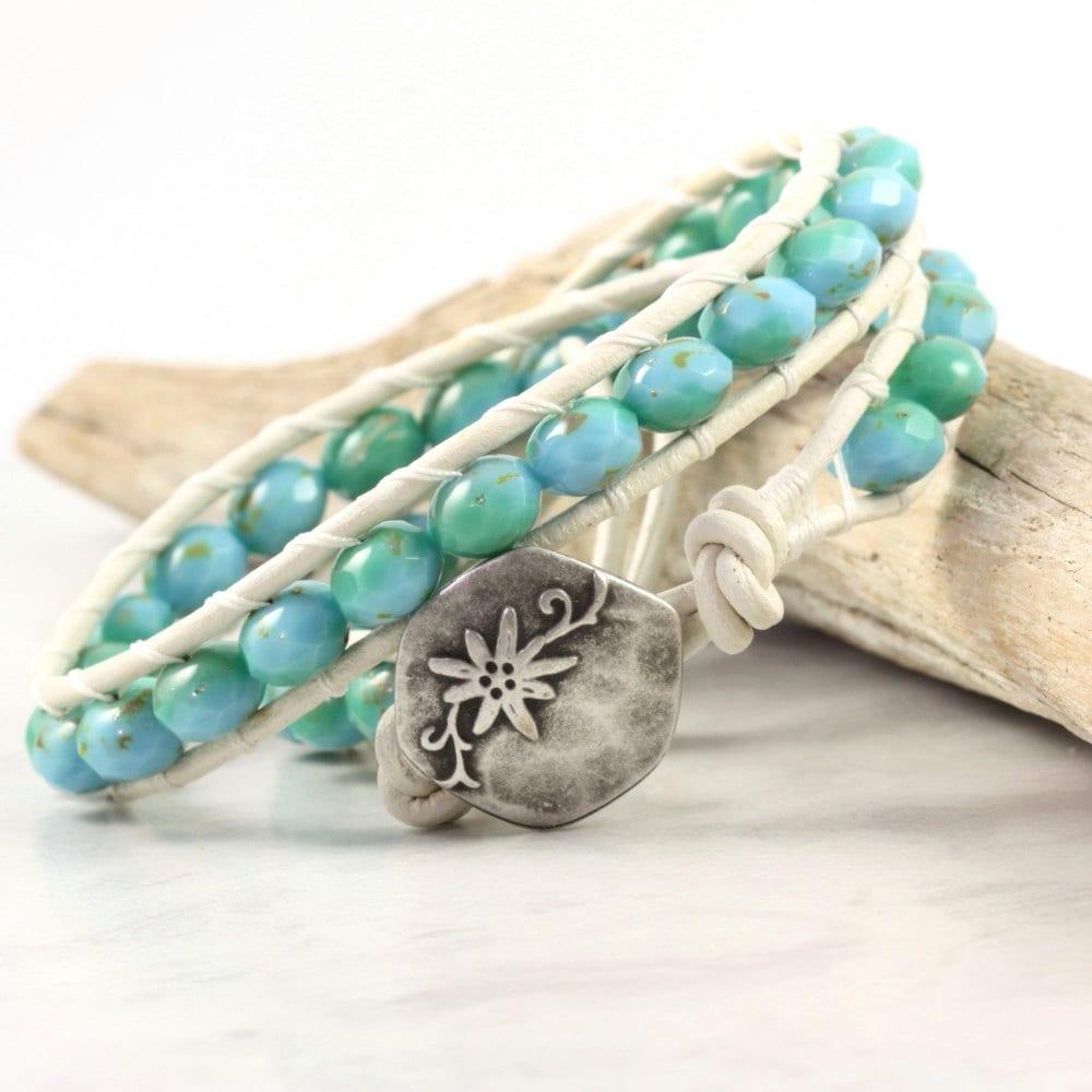 sea green bracelet blue wrap bracelet boho jewelry beaded
