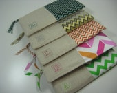 Set of 5 Chevron Personalized, Embroidered, Initial,  Clutch, Zipper Pouch, Bridesmaid Gift, Made To Order