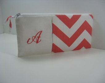 Embroidered Clutch, Personalized Coral Chevron Pouch, Bridesmaid Clutch, Made To Order