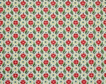 1940's Vintage Wallpaper Red and Yellow Floral Geometric on Green