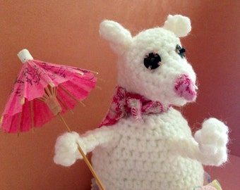 Christmas mouse  stuffed animal FREE SHIPPING USA Canada Handmade  lamb, sheep or mouse with vintage umbrella crochet  decoration toy