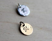 Charm only. Handstamped Initial. Silver or Brass