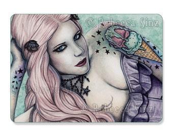 Ice Cream ACEO PRINT Sweet Things Series Bubblegoth Goth Tattoos Artist Trading Cards ATC Fantasy Art