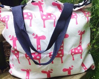 Giraffe diaper bag, pink diaper bag, giraffe bag, pink tote, navy chevron tote, reversible tote, bag, navy chevron bag, navy chevron purse