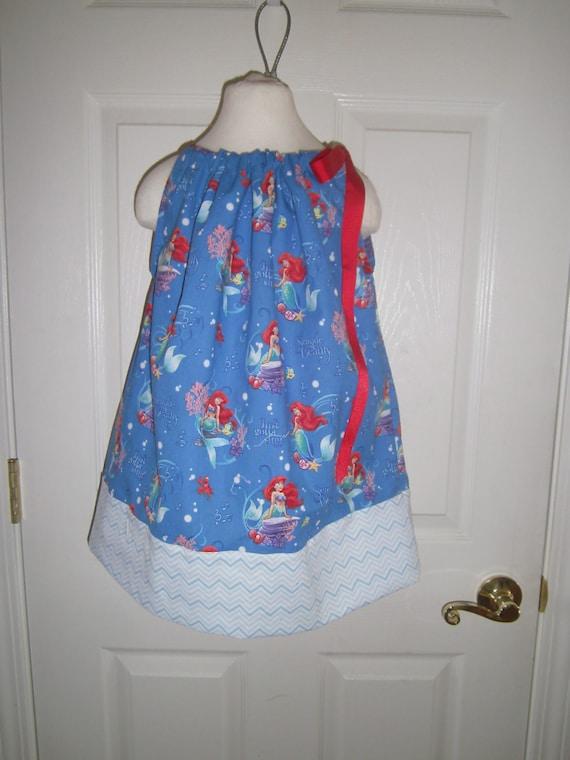 Disney Ariel The Little Mermaid Girls Dress, Pillowcase style, Ready to Ship, Newborn-8 gils