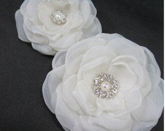 Bridal hair flower set, Ivory, Organza Rose hair pin, set  H021 - bridal hair accessory