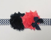 Navy Blue and White Chevron Skinny Elastic Headbands  w/ Navy and Coral Shabby Chic Hair Flowers - baby toddler girl - 3-12 months
